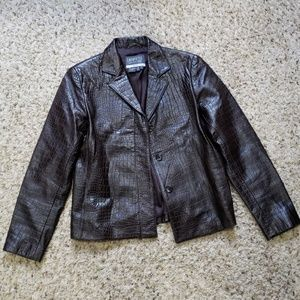 Lafayette 148 New York Brown Leather Jacket- Size0